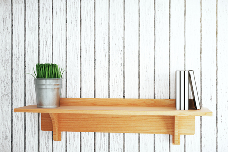 decorative objects: Wooden shelf with plant and books on grey plank background. Mock up, 3D Rendering