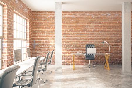 Coworking kantoor interieur met computers, betonnen vloer, rode bakstenen muren, zuilen en ramen. 3D Rendering