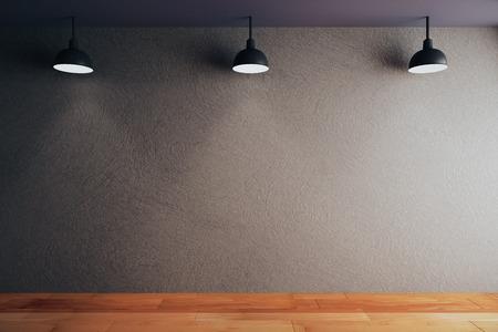 Vuoto parete di cemento nero in camera con pavimento in legno e soffitto con lampade. Mock up, Rendering 3D Archivio Fotografico - 57509826