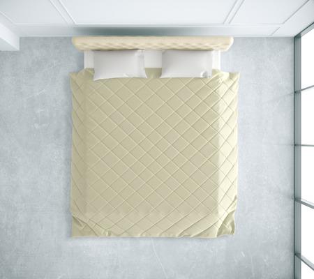 Top view of bedroom interior with padded beige blanket on bed, concrete floor and window. 3D Rendering