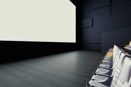 side viewing: Side view of blank white cinema screen and seats. Mock up, 3D Rendering