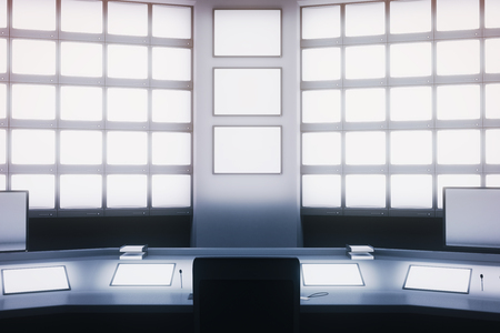 copy center: Front view of blank screens on wall and desk in security room. Mock up, 3D Rendering