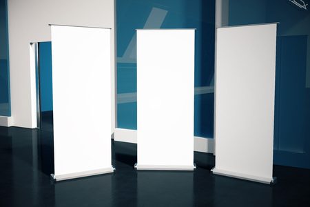black floor: Three blank posters in interior with black floor and blue wall. Mock up, 3D Rendering Stock Photo