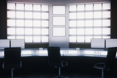 copy center: Front view of security room with blank screens. 3D Rendering