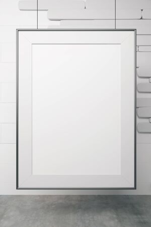 white picture frame: Blank white picture frame on creative wall. Mock up, 3D Rendering