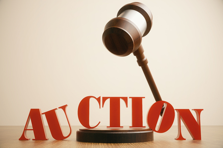 adjudicate: Auction gavel in mid air on light background. 3D Rendering