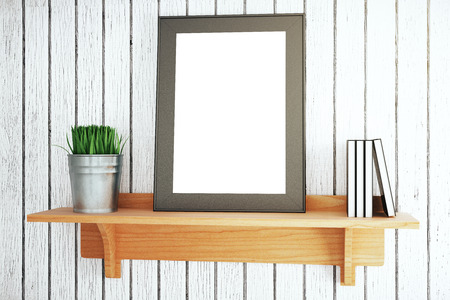 wooden shelf: Wooden shelf with blank picture frame, plant and books on grey plank background. Mock up, 3D Rendering Stock Photo