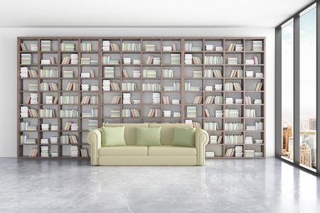 Bibliotheek inter met enorme boekenkasten, comfortabele groene bank en een raam met uitzicht op de stad. 3D Rendering