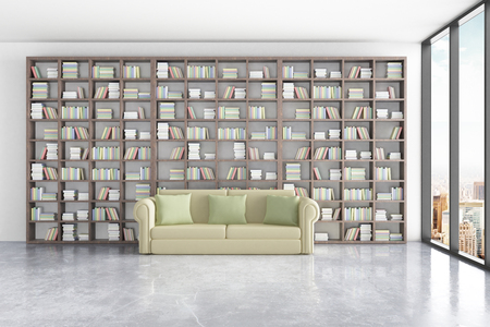 green couch: Library interior with massive bookshelves, comfortable green couch and window with city view. 3D Rendering Stock Photo