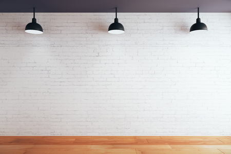 Blank brick wall in room with wooden floor and ceiling with lamps. Mock up, 3D Rendering