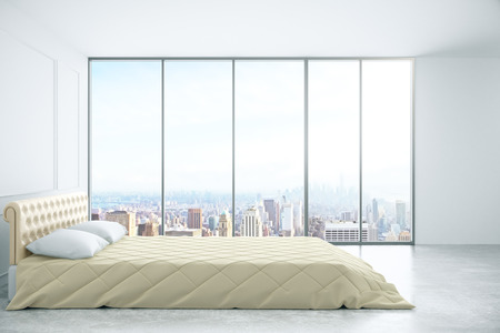 window view: Side view of simple bedroom interior with classic walls and window with city view. 3D Rendering