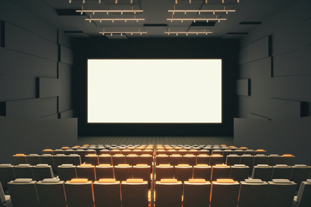 cinema screen: Cinema hall interior with rows of seats, patterned walls, ceiling with lamps and blank white screen. Mock up, 3D Rendering