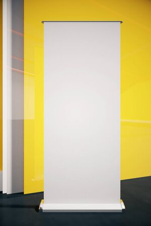 show bill: Closeup of blank poster in room with black floor and yellow wall. Mock up, 3D Rendering