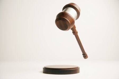 barrister: Gavel in mid air on light background. 3D Rendering