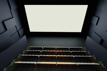 cinema screen: Cinema hall interior with rows of seats, patterned walls and blank white screen. Mock up, 3D Rendering
