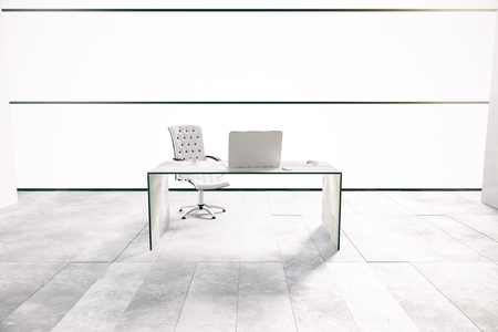office computer: Desk with laptop in white office interior. 3D Rendering