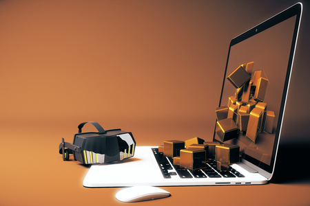 Virtual reality glasses next to laptop with square blocks falling out of screen on brown background. Side view, 3D Rendering