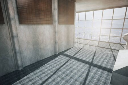 daylight: Corridor interior with patterned floor, concrete wall and panoramic window with daylight. Side view, 3D Rendering