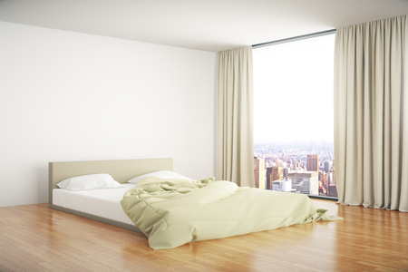 unmade: Side view of bedroom interior design with unmade bed and window with curtains and city view. 3D Rendering
