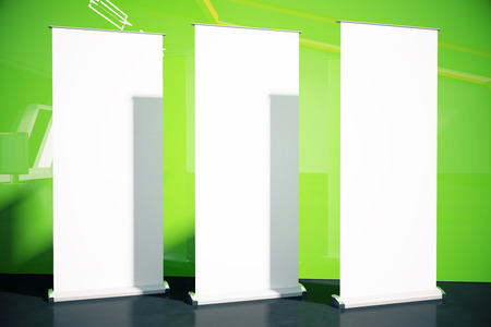 show bill: Three blank posters in room with black floor and green wall. Mock up, 3D Rendering