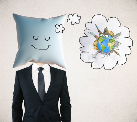 sleeping businessman: Sleeping businessman with smiley face on pillow instead of head dreaming about traveling