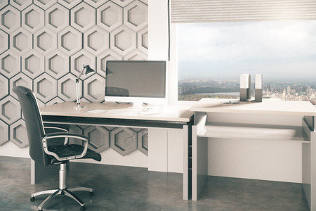 office desktop: Creative office desktop with honeycomb pattern on wall in the background and window with city view. 3D Rendering