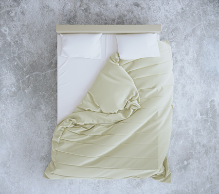 unmade: Top view of an unmade bed with beige blanket and white linens on concrete floor. 3D Rendering