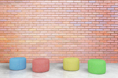 padded: Colorful padded stools in red brick room. 3D Rendering