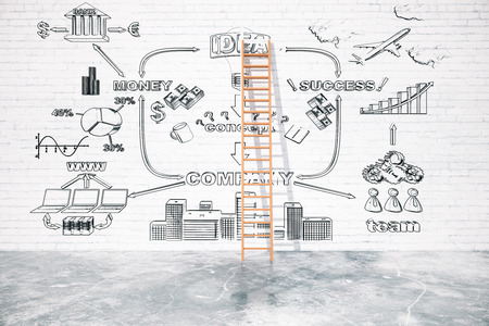 overcoming adversity: Business challenge concept with ladder leaning on white brick wall with business chart. 3D Rendering