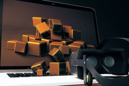 simulator: Closeup of virtual reality glasses next to laptop with square blocks falling out of screen. 3D Rendering
