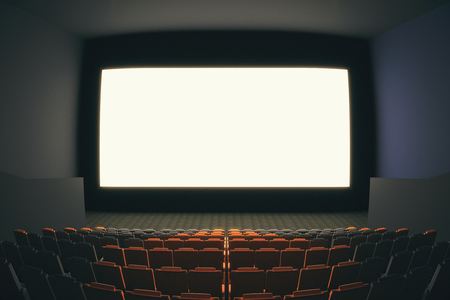 fish eye lens: Cinema hall interior with rows of seats and blank white screen. Fish eye lens. Mock up, 3D Rendering