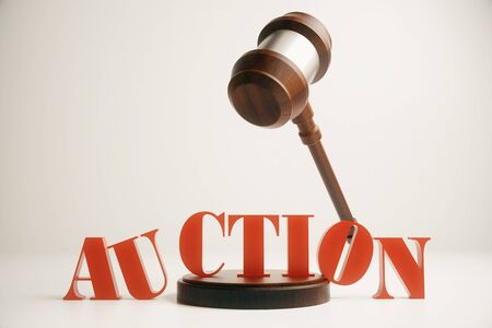 adjudicate: Wooden auction gavel in mid air on light background. 3D Rendering
