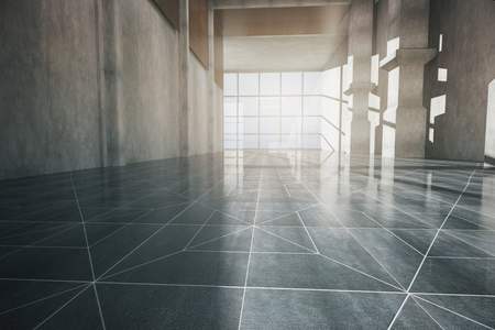 view window: Front view of corridor interior with patterned floor, concrete wall and panoramic window with daylight. 3D Rendering Stock Photo
