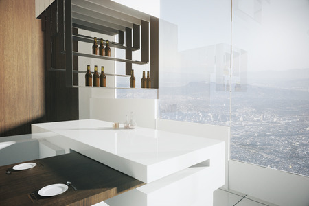 luxurious: Closeup of bar stand in luxurious kitchen interior with dining area, wooden wall, tile floor and panoramic window with city view. 3D Rendering