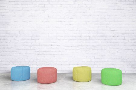 padded: Colorful padded stools in white brick room. 3D Rendering