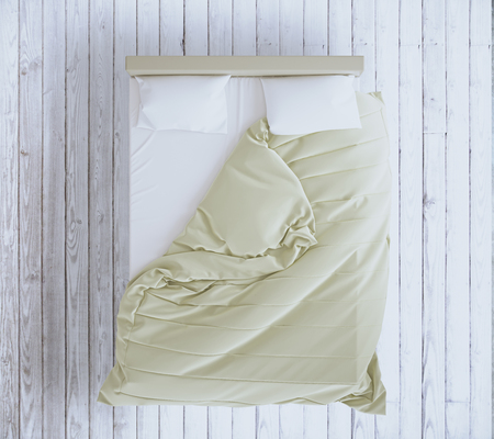 duvet: Top view of an unmade bed with beige blanket and white linens on grey wooden floor. 3D Rendering