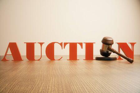 adjudicate: Auction gavel on wooden desktop and light background
