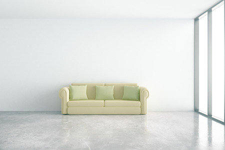 green couch: Concrete interior with comfortable green couch and window with daylight. 3D Rendering