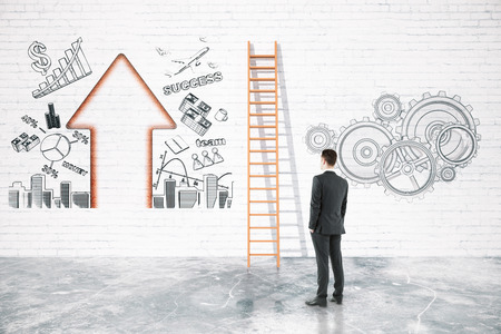overcoming: Business difficulties overcoming concept with businessman looking at ladder on brick wall with business charts. 3D Rendering Stock Photo