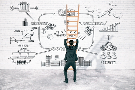 overcoming adversity: Business difficulties overcoming concept with businessperson pushing ladder to brick wall with business charts. 3D Rendering Stock Photo