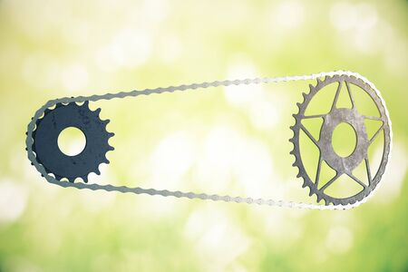 gearing: Bicycle gearing on abstract green background. 3D Rendering Stock Photo