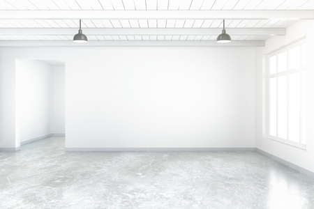 Empty room interior with blank concrete wall, floor, ceiling and window. Mock up, 3D Rendering