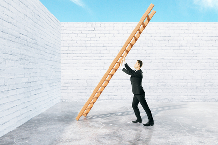 obstacle: Obstacle overcoming concept with businessman pushing ladder to brick wall. 3D Rendering