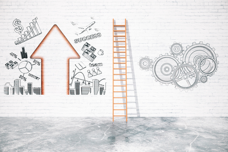 overcoming adversity: Business challenge concept with ladder leaning on brick wall with business chart. 3D Rendering