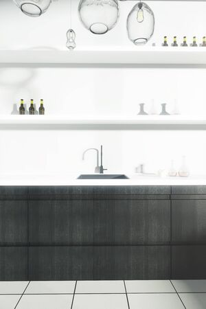 mini bar: Front view of kitchen counter with sink and shelves with items. 3D Rendering