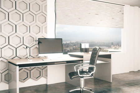 office window view: Side view of creative office desktop with honeycomb pattern on wall in the background and window with city view. 3D Rendering