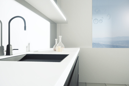 countertop: Closeup of sink in kitchen interior with landscape view. Side view, 3D Rendering