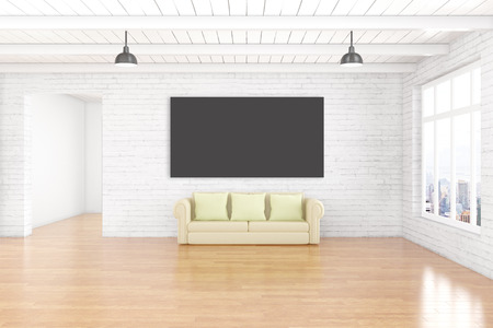 ceiling design: Interior design with empty chalkboard on white brick wall, wooden floor, ceiling, couch and window with city view. Mock up, 3D Rendering Stock Photo