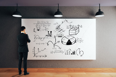 black floor: Businessman looking at whiteboard with business sketch. 3D Rendering