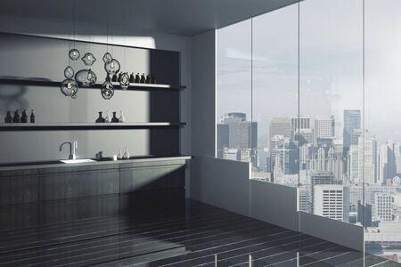 mini bar: Side view of loft kitchen interior with sink, items on shelves, dark plank floor and city view. 3D Rendering
